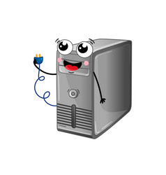 Funny computer system unit cartoon character vector