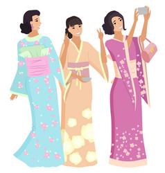 Geisha in kimono japanese women shooting vector