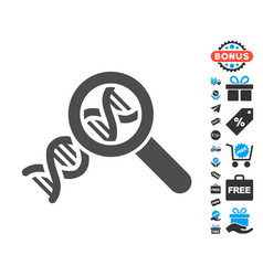 Genetics flat icon with free bonus elements vector