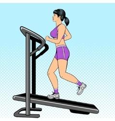 Girl on treadmill pop art style vector image