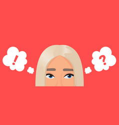 girl thinking about problem with dots in think vector image
