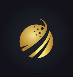 Gold globe star logo vector