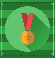 Golden Medal in Red Ribbon colorful icon vector image