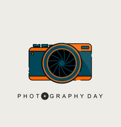 green orange mirrorless camera vector image