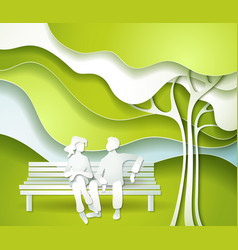 Green tree and family vector