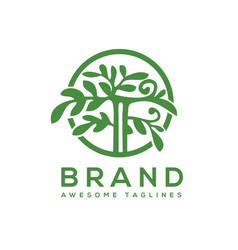 Green tree with leaves logo vector
