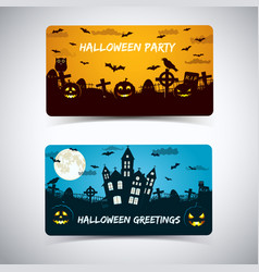 halloween night with cemerety banners vector image