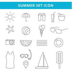 Hand drawing summer icons and symbol set outline vector