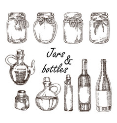Hand drawn jars and bottles in vector