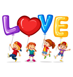 Happy children with balloons for word love vector