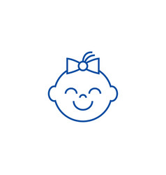 happy girl face line icon concept happy girl face vector image