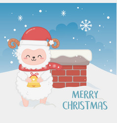 Happy merry christmas card with sheep in chimney vector