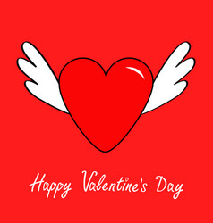 happy valentines day big heart with wings cute vector image