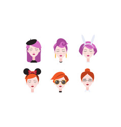 head beautiful girls with closed eyes set vector image