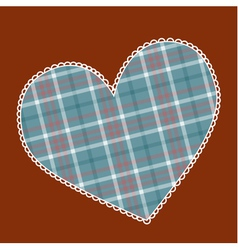 Heart made of plaid fabric vector