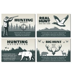 Hunting Society Design Set vector