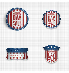 Independence day greeting badges set vector