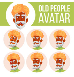 indian old man avatar set hindu asian vector image