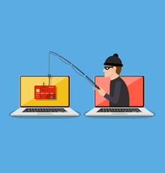 Internet phishing and hacking attack concept vector