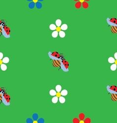 ladybug on flower seamless pattern vector image