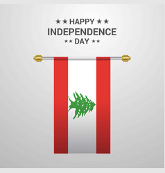 Lebanon independence day hanging flag background vector