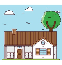 Linear flat house - elements for design vector