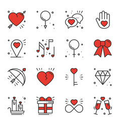 love line icons set happy valentine day signs and vector image