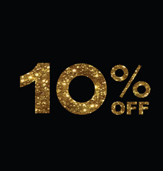 Luxury golden glitter ten percent off special vector
