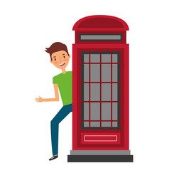 man with booth telephone united kingdom symbol vector image