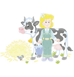 Milkmaid and cow vector