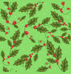 Mistletoe branch with green leaves for christmas vector