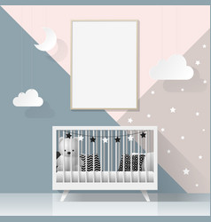 Mock up poster frame in modern baby bedroom vector