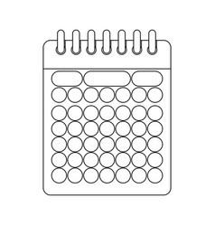 monochrome contour of calendar with spiral vector image