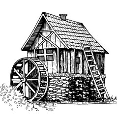old water mill engraving style vector image