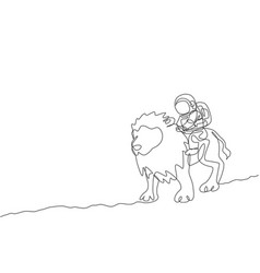 One single line drawing astronaut riding lion vector