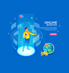 Online banking futuristic concept vector
