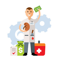 Organ transplantation flat style colorful vector