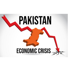 Pakistan map financial crisis economic collapse vector