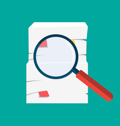 paper pile and magnifying glass vector image