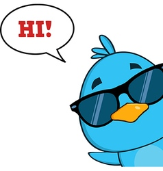 Peeking Bird Cartoon with Speech Bubble vector image