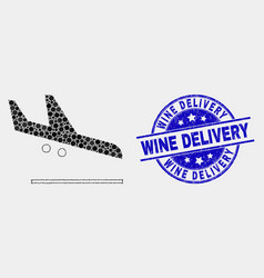 pixel airplane landing icon and scratched vector image