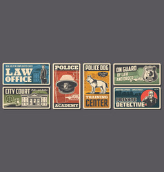 Police law and justice retro posters policeman vector