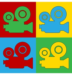 Pop art camera icons vector image