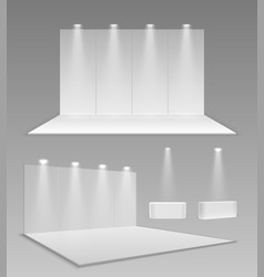 Realistic empty stands 3d event exhibition panel vector
