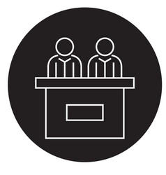receptionist desk black concept icon vector image