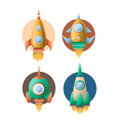 rockets or spaceships retro cartoon flat vector image
