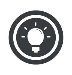 Round black light bulb sign vector