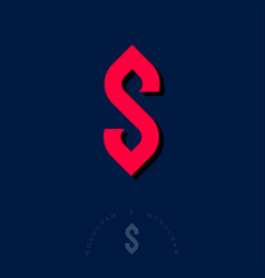 s monogram letter like red ribbon vector image