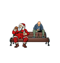 santa claus eats fast food burger hooligan drinks vector image