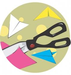 scissors cutting paper vector image